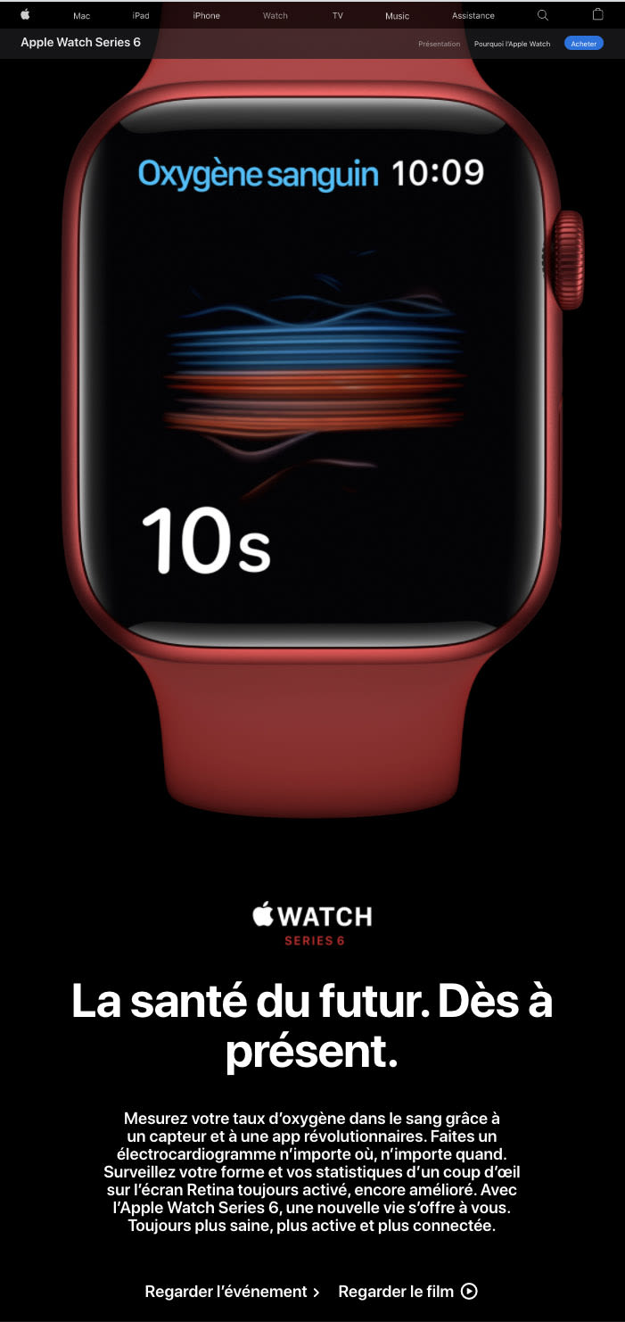 Budget marketing digital - landing page apple watch