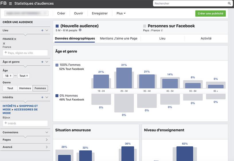 Trouver des clients sur Facebook - Facebook Audience Insight